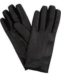Burberry Embossed Logo Cashmere-lined Lambskin Gloves, Brand - Black