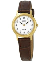 Seiko Solar White Dial Brown Leather Ladies Watch