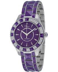 Dior Christal Purple Dial Diamond Purple Sapphire Automatic Ladies Watch