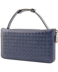 Bottega Veneta Blue Intrecciato Leather Travel Organizer