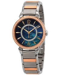 Concord Impresario Diamond Black Mother Of Pearl Ladies Watch