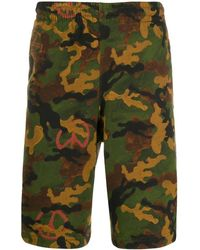 Off-White c/o Virgil Abloh Multicolor Camouflage Print Shorts - Green