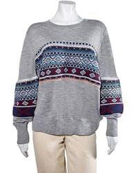 Burberry Ladies Sweaters Cotton Cash Gray Melange Placed Fairisle Sweater, Brand