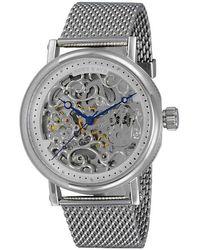 Adee Kaye Ak6463 Automatic Silver Skeleton Dial Watch -0g2sv - Metallic