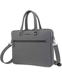 Ferragamo Revival 3.0 Coated Leather Slim Briefcase - Grey