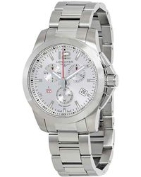 Longines Conquest Chronograph Silver Dial Mens Watch - Metallic
