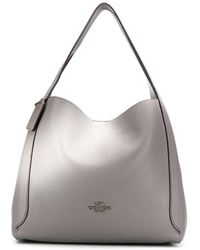 COACH Heather Gray Hadley Pebbled Leather Hobo Bag