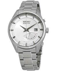 Seiko Kinetic Automatic White Dial Stainless Steel Mens Watch - Metallic