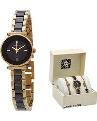 Anne Klein Quartz Black Dial Watch - Metallic