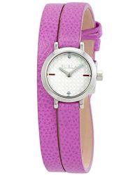 Furla Vittoria Crystal Silver Dial Ladies Watch - Purple
