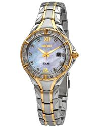 Seiko Solar Quartz Diamond Ladies Two Tone Watch - Metallic