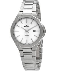 Edox Delfin Quartz Silver Dial Watch  3m Ain - Metallic