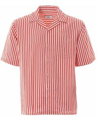 AMI Striped Short-sleeve Camp Collar Shirt - Red