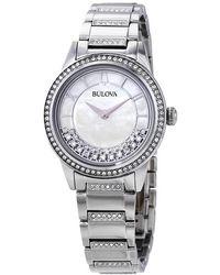 Bulova Crystal Mother Of Pearl Dial Ladies Watch - Metallic