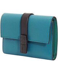Loewe Ladies Soft Grained Calfskin Small Vertical Wallet - Green
