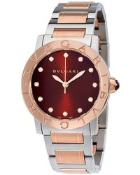 BVLGARI Brown Lacquered Diamond Dial Stainless Steel & 18k Pink Gold 33mm Ladies Watch - Multicolour