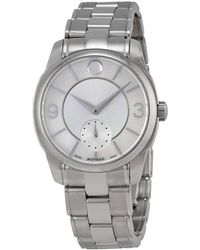 Movado - Lx Silver Dial Stainless Steel Ladies Watch - Lyst