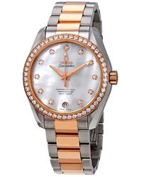 Omega Seamaster Aqua Terra Mother Of Pearl Dial Stainless Steel Ladies Watch - Metallic
