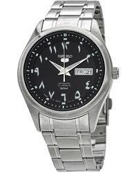 Seiko 5 Automatic Black Dial Mens Watch - Metallic