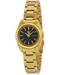Seiko 5 Automatic Black Dial Gold-tone Ladies Watch - Metallic