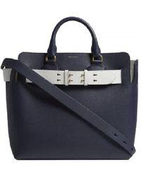 Burberry Marais Medium Belt Top Handle Bag, Navy - Blue