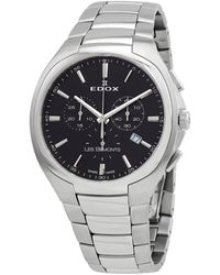 Edox Chronograph Quartz Black Dial Watch  3 Nin - Metallic