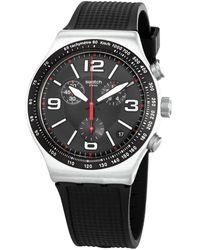 Swatch - Very Dark Grid Chronograph Quartz Black Dial Mens Watch - Lyst