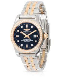 Breitling Pre-owned Galactic Quartz Chronometer Diamond Black Dial Ladies Watch - Metallic