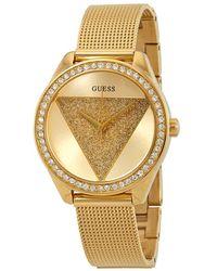 Guess Glitz Crystal Gold Dial Ladies Watch - Metallic