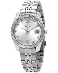 Fossil Scarlette Mini Quartz Crystal Silver Dial Ladies Watch - Metallic
