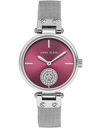 Anne Klein Burgundy Sunray Dial Ladies Mesh Watch - Red