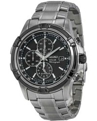 Seiko Solar Chronograph Black Dial Stainless Steel Mens Watch - Metallic
