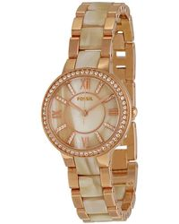 Fossil - Virginia Rose Dial Rose Gold-tone And Horn Acetate Ladies Watch - Lyst