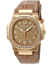 Patek Philippe Nautilus 18k Rose Gold Diamond Watch -012 - Metallic