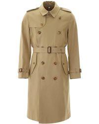 Burberry Mens Long Kensington Trench Coat - Natural