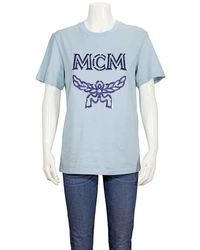 MCM Ladies Metallic-trimmed Logo Tee In Sky Blue
