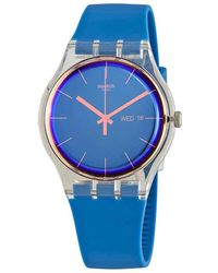 Swatch Polablue Blue Dial Plastic Watch