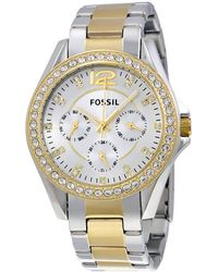 Fossil - Riley Multi-function Two-tone Ladies Watch - Lyst