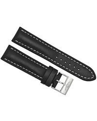 Breitling Black Leather Strap With White Stitching And A Stainless Steel Tang Buckle 22-20mm