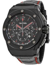 TW Steel Ceo Tech Black Dial Black Leather Mens Watch