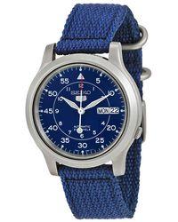 Seiko 5 Blue Dial Blue Canvas Mens Watch