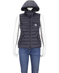 Moncler Nylon Leger Down Quilted Gilet In Blue, Brand