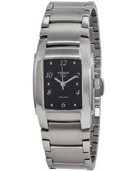 Tissot T10 Black Dial Matte Stainless Steel Ladies Watch - Metallic