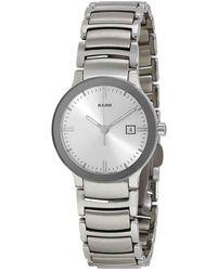 Rado Centrix Quartz Silver Dial Stainless Steel Ladies Watch - Metallic