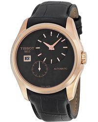 Tissot Couturier Automatic Black Dial Black Leather Watch T0354283605100 - Multicolour