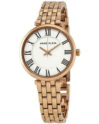 Anne Klein White Dial Ladies Rose Gold-tone Watch - Metallic