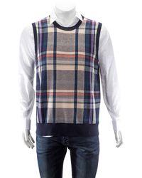Burberry Mens Check Cashmere Tank Top, Brand - Blue