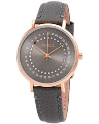 Furla Giada Date Gray Dial Ladies Leather Watch - Multicolor