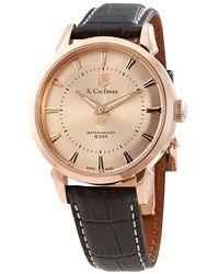 S. Coifman Rose Gold Dial Black Leather Mens Watch - Metallic
