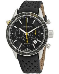 Raymond Weil Freelancer Chronograph Stainless Steel And Leather-strap Watch - Black